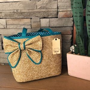 St. John's Bay Turquoise Straw Bow Tote